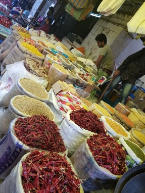 Pasta and other dry goods outside the market.