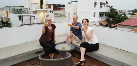 Christmas cocktails on the rooftop deck