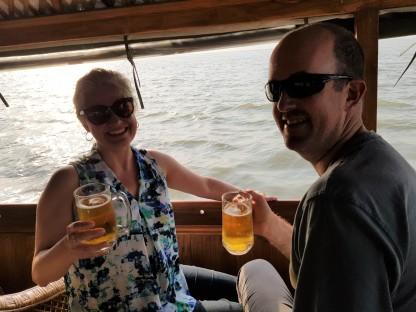 Enjoying beers on board