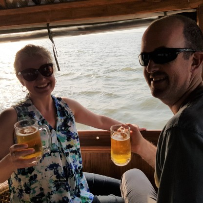 Enjoying beers on board