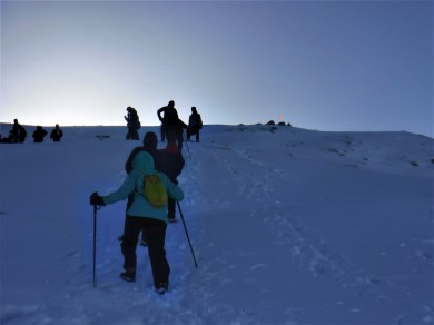 Cliche line-of-climbers shot